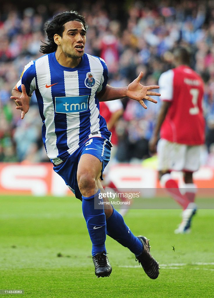 Radamel Falcao Garcia of FC Porto celebrates scoring the opening goal during the UEFA Europa League Final between FC Porto and SC Braga at Dublin Arena on May 18, 2011 in Dublin, Ireland.