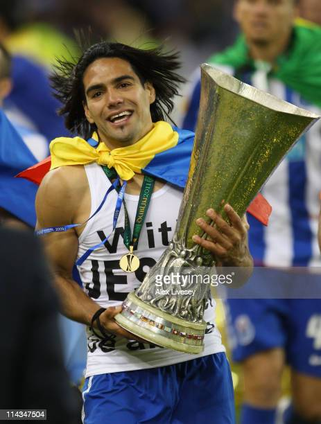 Radamel Falcao Garcia of FC Porto celebrates victory during the UEFA Europa League Final between FC Porto and SC Braga at Dublin Arena on May 18 2011...