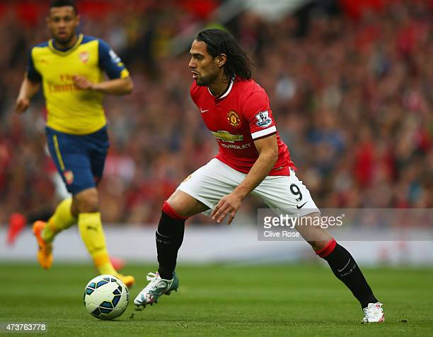 Radamel Falcao Garcia of Manchester United in action during the Barclays Premier League match between Manchester United and Arsenal at Old Trafford...