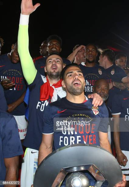 Radamel Falcao goalkeeper of Monaco Danijel Subasic during the French League 1 Championship title celebration following the French Ligue 1 match...