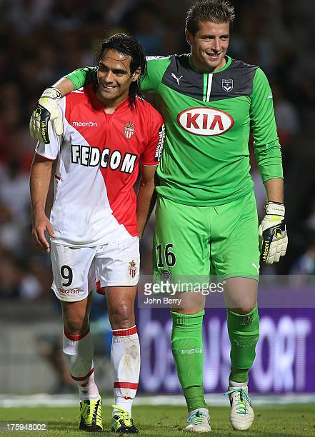 Radamel Falcao of AS Monaco and Cedric Carrasso goalkeeper of Bordeaux in action during the french Ligue 1 match between FC Girondins de Bordeaux and...