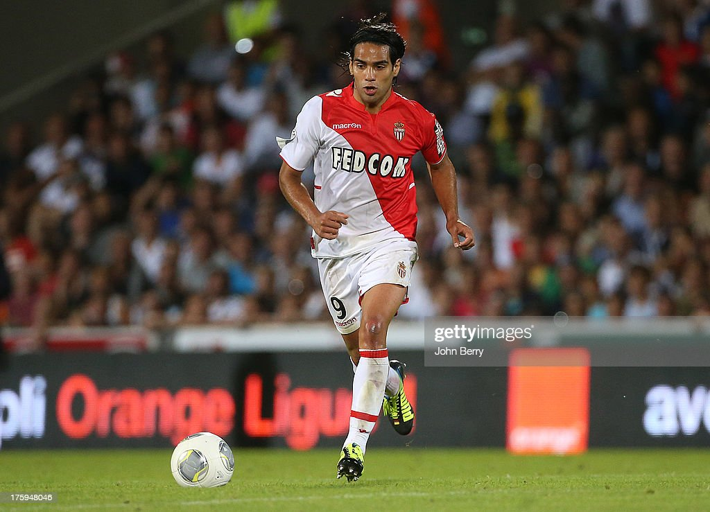 <a gi-track='captionPersonalityLinkClicked' href=/galleries/search?phrase=Radamel+Falcao&family=editorial&specificpeople=3022104 ng-click='$event.stopPropagation()'>Radamel Falcao</a> of AS Monaco in action during the french Ligue 1 match between FC Girondins de Bordeaux and AS Monaco FC at the Stade Chaban-Delmas stadium on August 10, 2013 in Bordeaux, France.