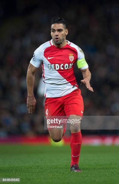Radamel Falcao of AS Monaco in action during the UEFA Champions League Round of 16 first leg match between Manchester City FC and AS Monaco at Etihad...