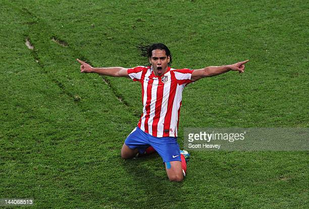 Radamel Falcao of Atletico Madrid celebrates scoring his team's second goal during the UEFA Europa League Final between Atletico Madrid and Athletic...