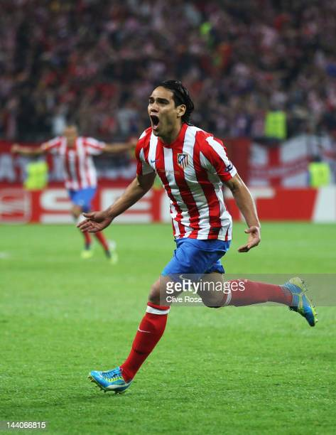 Radamel Falcao of Atletico Madrid celebrates scoring the opening goal during the UEFA Europa League Final between Atletico Madrid and Athletic Bilbao...