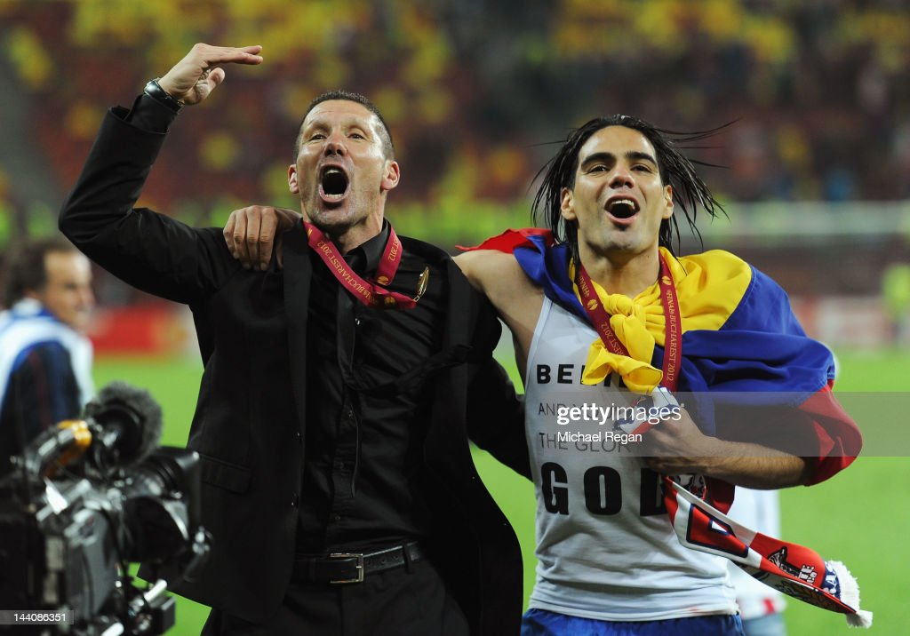 Radamel Falcao of Atletico Madrid celebrates with Coach Diego Simeone at the end of the UEFA Europa League Final between Atletico Madrid and Athletic Bilbao at the National Arena on May 9, 2012 in Bucharest, Romania.
