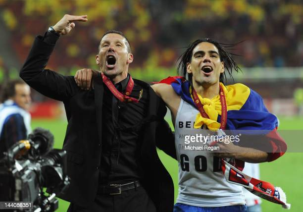 Radamel Falcao of Atletico Madrid celebrates with Coach Diego Simeone at the end of the UEFA Europa League Final between Atletico Madrid and Athletic...