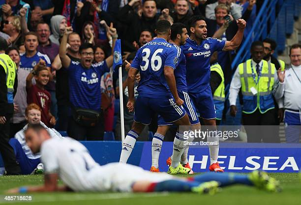 Radamel Falcao of Chelsea celebrates scoring chelsea's first goal during the Barclays Premier League match between Chelsea and Crystal Palace on...