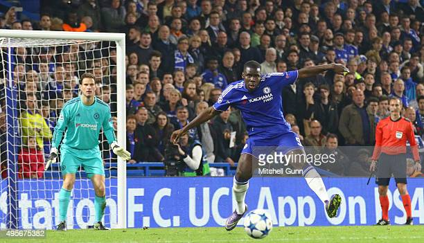 Radamel Falcao of Chelsea clears the ball during the Champions League match between Chelsea and Dynamo Kyiv at Stamford Bridge on November 04 2015 in...