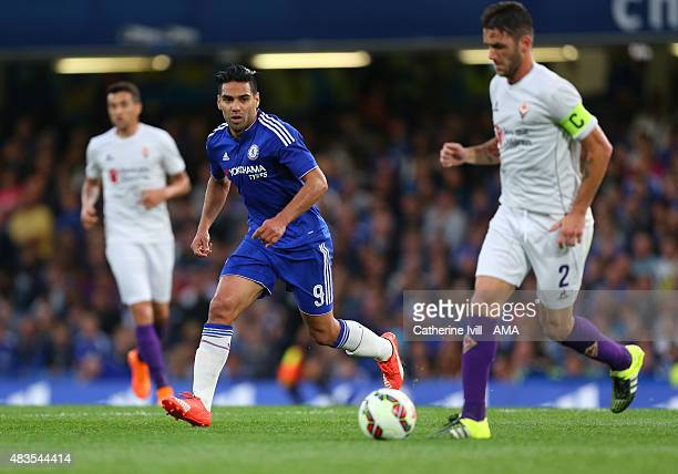 Radamel Falcao of Chelsea in action during the preseason friendly between Chelsea and Fiorentina at Stamford Bridge on August 5 2015 in London England