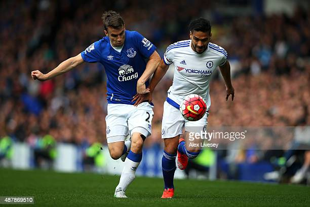 Radamel Falcao of Chelsea is challenged by Seamus Coleman of Everton during the Barclays Premier League match between Everton and Chelsea at Goodison...