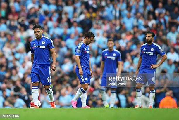 Radamel Falcao of Chelsea looks dejected after the third Manchester City goal scored by Fernandinho of Manchester City during the Barclays Premier...