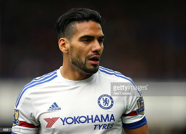 Radamel Falcao of Chelsea looks on during the Barclays Premier League match between Everton and Chelsea at Goodison Park on September 12 2015 in...