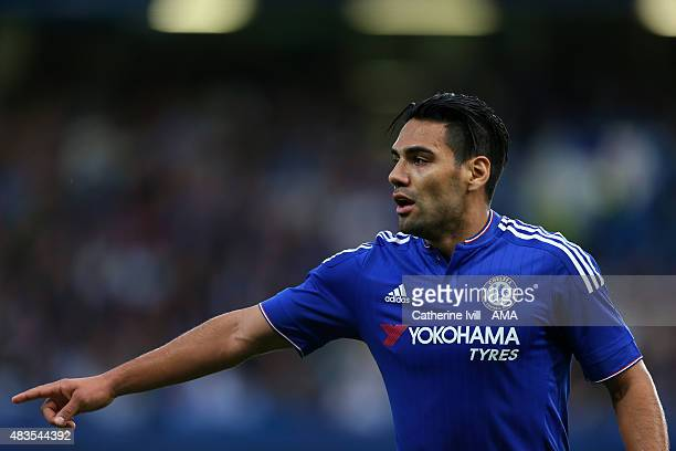 Radamel Falcao of Chelsea points during the preseason friendly between Chelsea and Fiorentina at Stamford Bridge on August 5 2015 in London England
