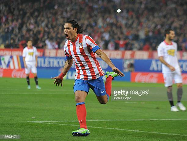 Radamel Falcao of Club Atletico de Madrid celebrates after scoring his team's opening goal during the La Liga match between Club Atletico de Madrid...