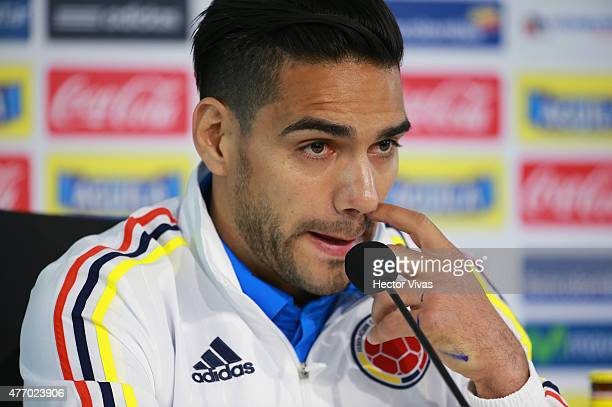 Radamel Falcao of Colombia attends a press conference at San Carlos de Apoquindo training camp on June 13 2015 in Santiago Chile Colombia will face...
