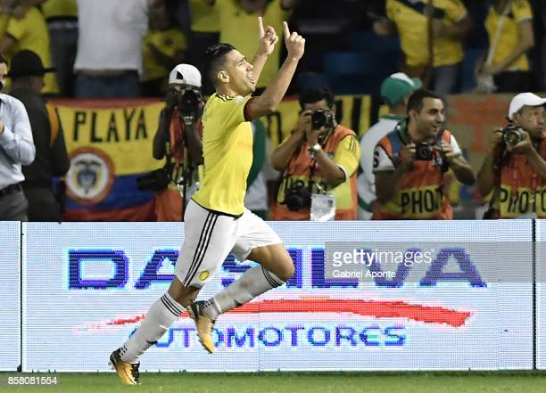 Radamel Falcao of Colombia celebrates after scoring the first goal of his team during a match between Colombia and Paraguay as part of FIFA 2018...
