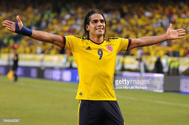 Radamel Falcao of Colombia celebrates the victory of colombia as part of the South American Qualifiers for the FIFA Brazil 2014 World Cup at the...
