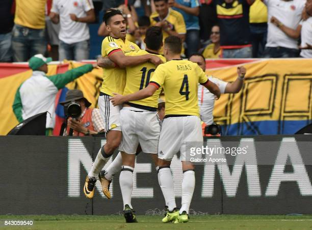 Radamel Falcao of Colombia celebrates with teammates after scoring the equalizer during a match between Colombia and Brazil as part of FIFA 2018...