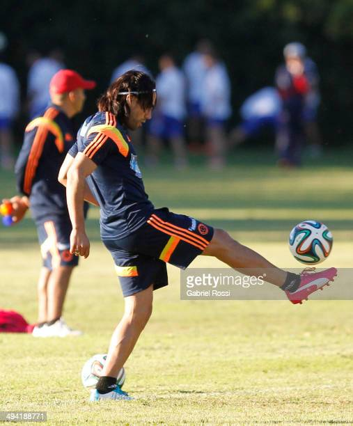 Radamel Falcao of Colombia controls the ball during a Colombia National Team training session at Sofitel Cardales on May 28 2014 in Buenos Aires...