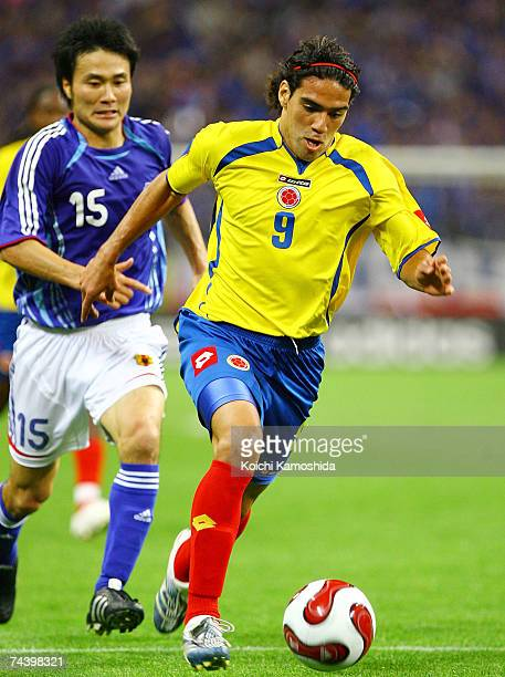 Radamel Falcao of Colombia controls the ball during the Kirin Cup match between Japan and Colombia at Saitama Stadium June 5 2007 in Saitama Japan