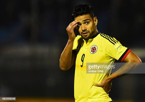 Radamel Falcao of Colombia gestures after a match between Uruguay and Colombia as part of FIFA 2018 World Cup Qualifier at Centenario Stadium on...