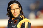 Radamel Falcao of Colombia looks on before the International Friendly Match between Colombia and Senegal at Pedro Bidegain Stadium on May 31 2014 in...