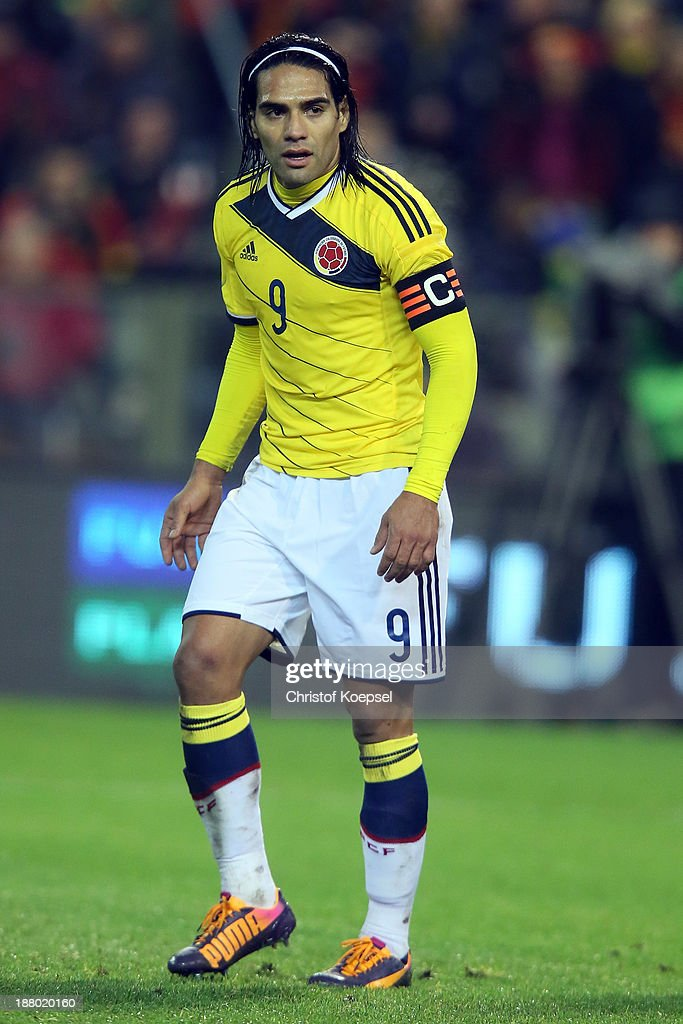 Radamel Falcao of Colombia looks onl during the international friendly match between Belgium and Colombia at King Badouin stadium on November 14 2013...