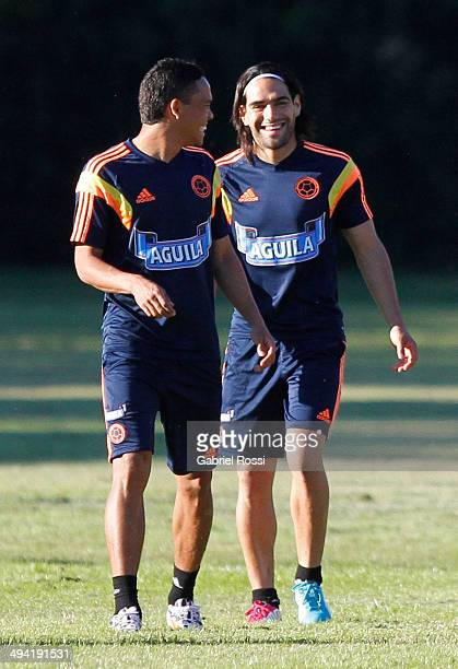 Radamel Falcao of Colombia smiles during a Colombia National Team training session at Sofitel Cardales on May 28 2014 in Buenos Aires Argentina