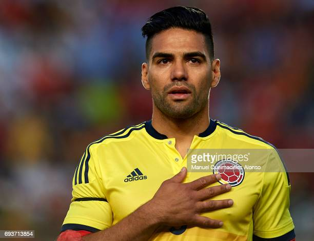 Radamel Falcao of Colombia stands for their national athem prior to the international friendly match between Spain and Colombia at Nueva Condomina...