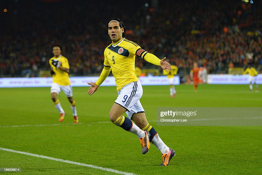 Radamel Falcao of Columbia celebrates scoring their first goal during the International Friendly match between Belgium and Columbia at King Baudouin...