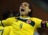Radamel Falcao of Columbia celebrates scoring their first goal during the International Friendly match between Belgium and Columbia at King Baudouin...