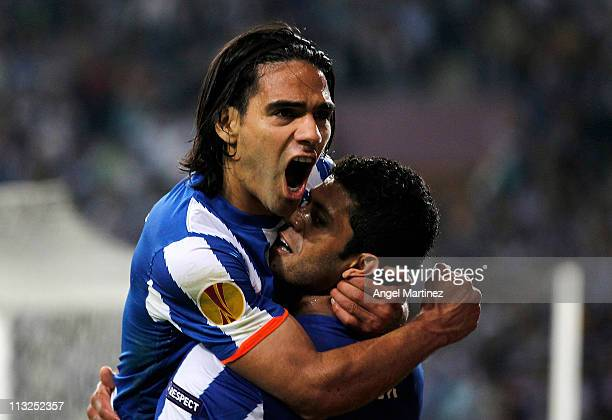 Radamel Falcao of FC Porto celebrates with Givalnildo Vieira 'Hulk' after scoring his side third goal during the UEFA Europa League semi final first...