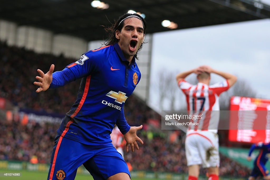 Radamel Falcao of Man Utd celebrates after scoring their first goal during the Barclays Premier League match between Stoke City and Manchester United at the Britannia Stadium on January 1, 2015 in Stoke-on-Trent, England.