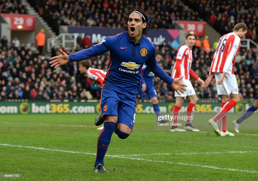Radamel Falcao of Manchester United celebrates scoring his team's first goal during the Barclays Premier League match between Stoke City and Manchester United at Britannia Stadium on January 1, 2015 in Stoke on Trent, England.
