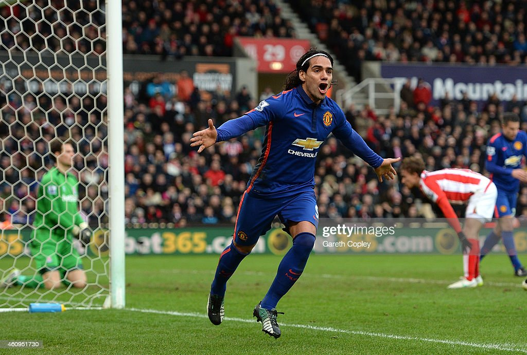<a gi-track='captionPersonalityLinkClicked' href=/galleries/search?phrase=Radamel+Falcao&family=editorial&specificpeople=3022104 ng-click='$event.stopPropagation()'>Radamel Falcao</a> of Manchester United celebrates scoring his team's first goal during the Barclays Premier League match between Stoke City and Manchester United at Britannia Stadium on January 1, 2015 in Stoke on Trent, England.