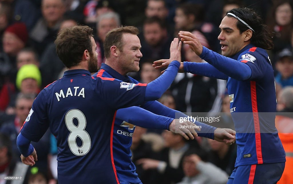 Radamel Falcao of Manchester United celebrates scoring their first goal during the Barclays Premier League match between Stoke City and Manchester United at Britannia Stadium on January 1, 2015 in Stoke on Trent, England.