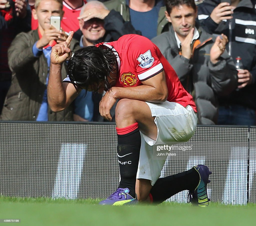 Radamel Falcao of Manchester United celebrates scoring their second goal during the Barclays Premier League match between Manchester United and Everton at Old Trafford on October 5, 2014 in Manchester, England.