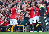 Radamel Falcao of Manchester United comes on as a substitute for Juan Mata to make his debut during the Barclays Premier League match between...