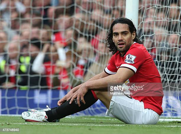 Radamel Falcao of Manchester United in action during the Barclays Premier League match between Manchester United and Arsenal at Old Trafford on May...