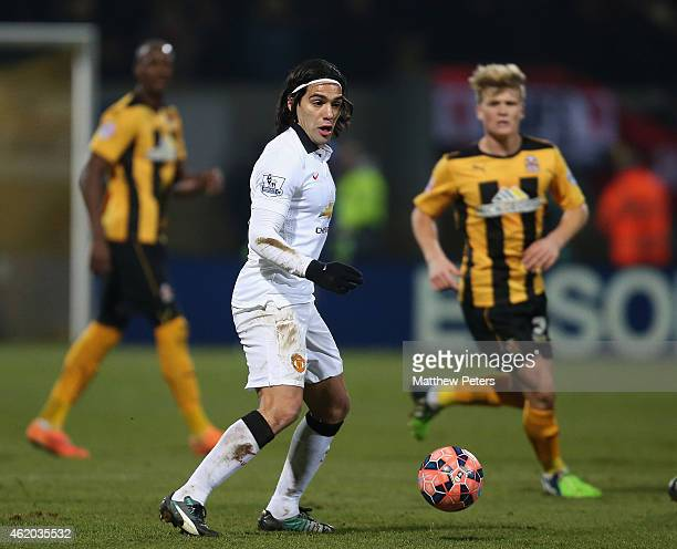 Radamel Falcao of Manchester United in action during the FA Cup Fourth Round match between Cambridge United and Manchester United at The R Costings...