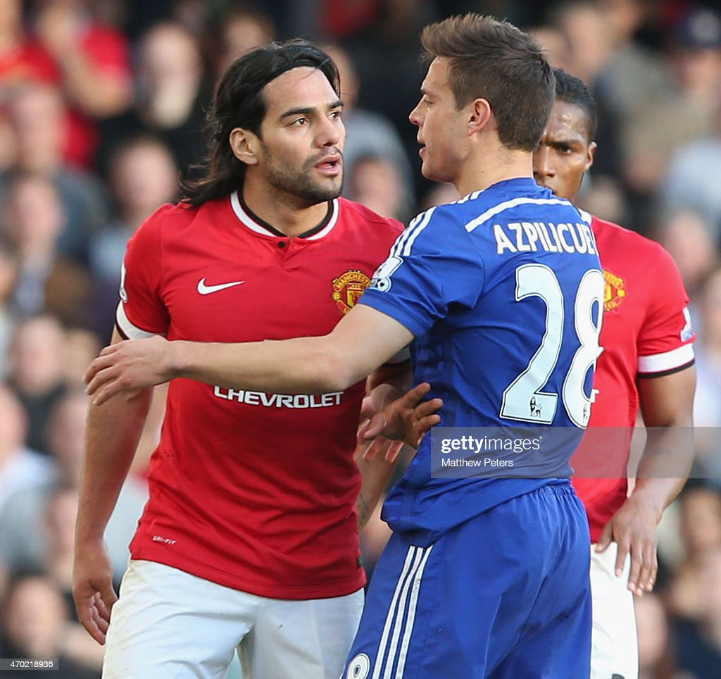 <a gi-track='captionPersonalityLinkClicked' href=/galleries/search?phrase=Radamel+Falcao&family=editorial&specificpeople=3022104 ng-click='$event.stopPropagation()'>Radamel Falcao</a> of Manchester United in action with Cesar Azpilicueta of Chelsea during the Barclays Premier League match between Chelsea and Manchester United at Stamford Bridge on April 18, 2015 in London, England.