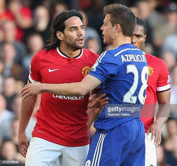 Radamel Falcao of Manchester United in action with Cesar Azpilicueta of Chelsea during the Barclays Premier League match between Chelsea and...