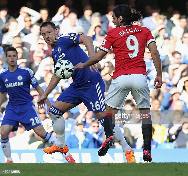 Radamel Falcao of Manchester United in action with John Terry of Chelsea during the Barclays Premier League match between Chelsea and Manchester...
