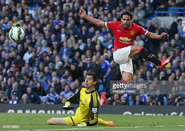 Radamel Falcao of Manchester United in action with Thibaut Cortois of Chelsea during the Barclays Premier League match between Chelsea and Manchester...