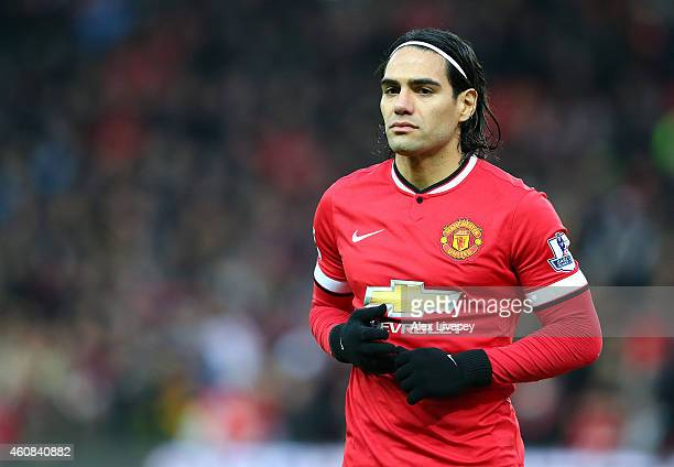 Radamel Falcao of Manchester United looks on prior to the Barclays Premier League match between Manchester United and Newcastle United at Old...