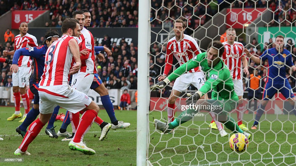 Radamel Falcao of Manchester United scores their first goal during the Barclays Premier League match between Stoke City and Manchester United at Britannia Stadium on January 1, 2015 in Stoke on Trent, England.