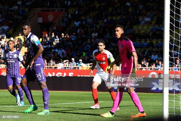 Radamel Falcao of Monaco and Alban Lafont of Toulouse during the French Ligue 1 match between Monaco and Toulouse at Louis II Stadium on April 29...