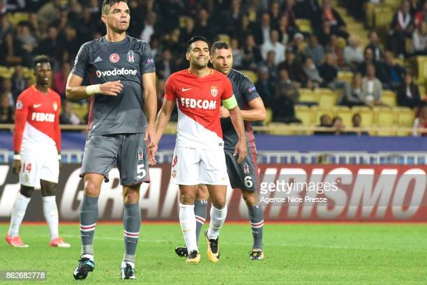 Radamel Falcao of Monaco and Pepe of Besiktas during the UEFA Champions League match between AS Monaco and Besiktas Istanbul at Stade Louis II on...