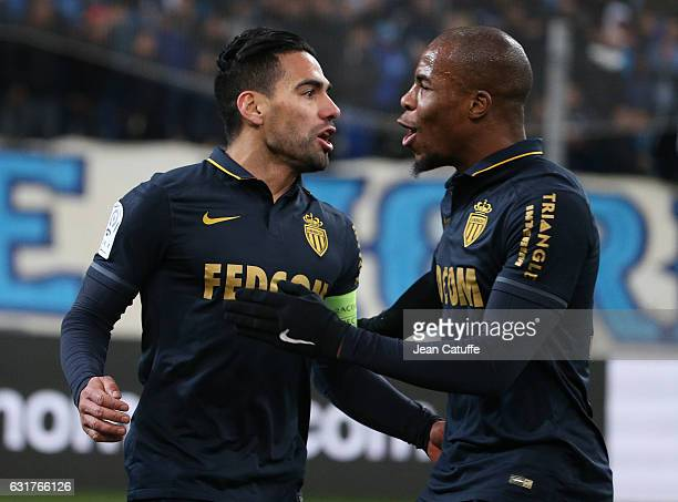 Radamel Falcao of Monaco celebrates his goal with Djibril Sidibe during the French Ligue 1 match between Olympique de Marseille and AS Monaco at...
